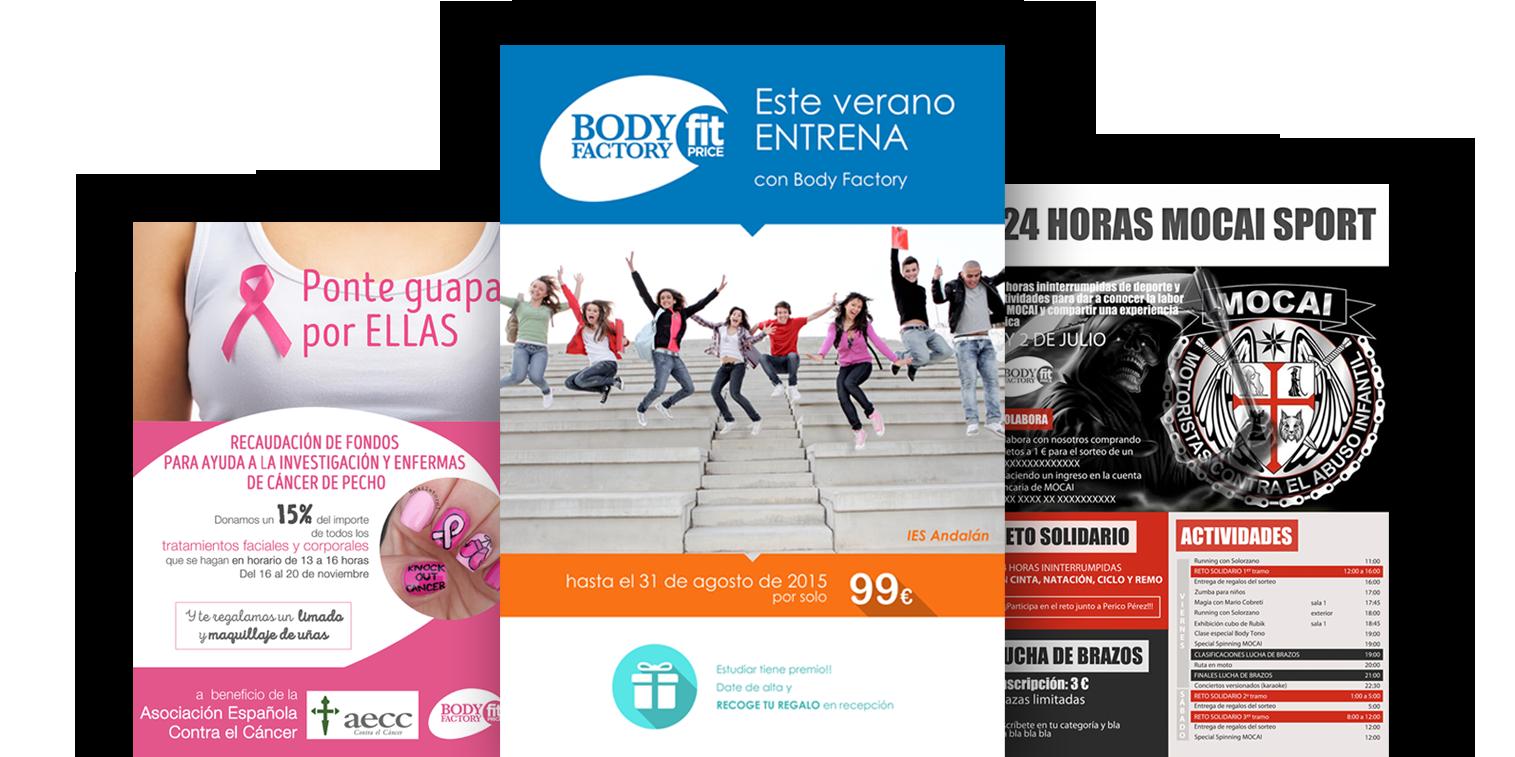 Diseño de folletos para el Gimnasio Body Factory Zaragoza