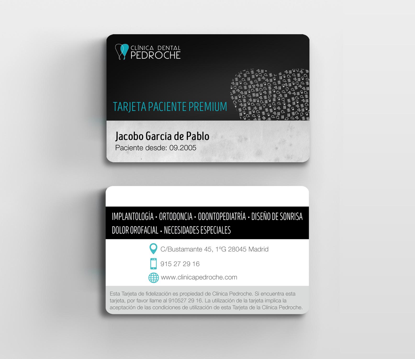 Diseño de tarjetas de fidelización para Clínica Pedroche